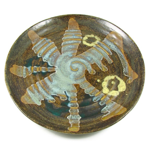 Reserved for Wendy, Happy Birthday :) Ceramic Platter -  Abstract Design Art Centerpiece - Handmade Pottery Plate - Wheel Thrown Stoneware