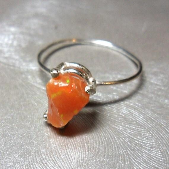 Rainbow Fire Opal Stackable Specimen Ring