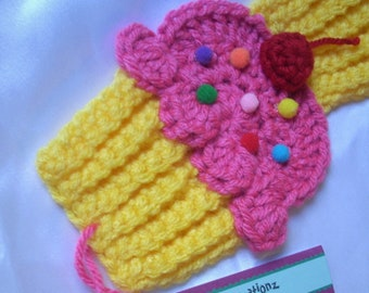 Cupcakes Scarf crochet knit scarf Lemon Yellow Pink Frosting Sprinkles 3D Cherry 70in. Super Soft Made To Order