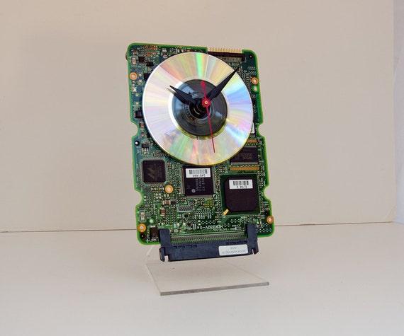 Recycled Computer hard drive Circuitboard Clock