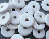 25 Greek Ceramic Beads White 13mm Round Washer Beads - Disks