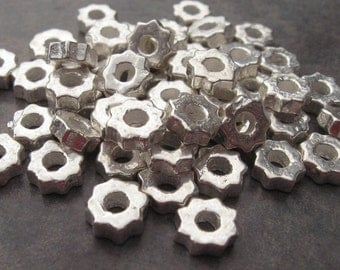 Silver Tiny Gears Mykonos Greek Ceramic Large Holed Metalized Spacer Beads - 6mm  (10)