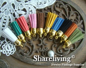 5pcs Mixed Color Gold Plated Leather Rope Tassel Charms  ST051