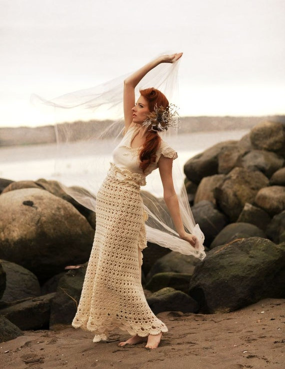 One of a Kind Dress/Crochet Dress/Alternative Wedding Dress/Upcycled Dress/Winter Wedding Dress/Handmade Dress/One of a Kind Dress