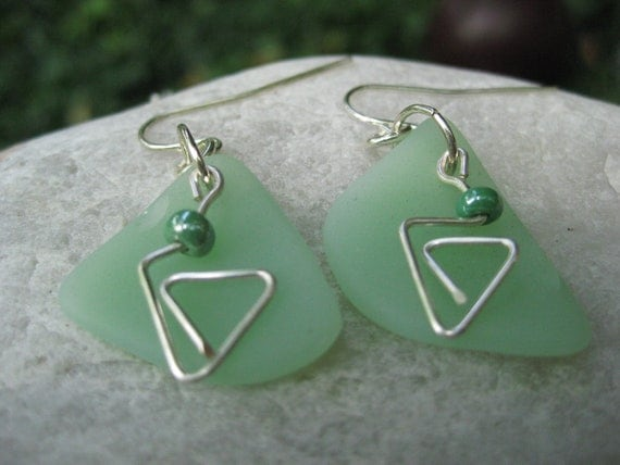 Beachglass inspired earrings fireking jadite antique china jewelry, wire wrapped