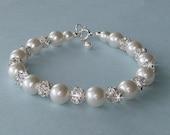Reserved for Kylie - Junior Bridesmaid or Flower Girl Pearl Bracelet - Pearl and Crystal Rhinestone Ball Bracelet