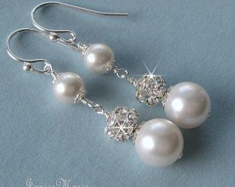 Pearl Earrings, Pearl and Crystal Long Drop Earrings, White or Ivory Pearls, Rhinestone Fire Ball and Pearl Bridal Earrings - Wedding