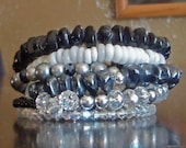 MOVING SALE.  Black, White and Gray Memory Wire Bracelet