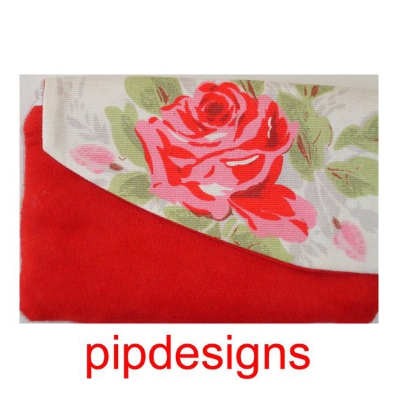 Cath Kidston Rose Fabric Zippered Flap Magnetic Clasp Purse