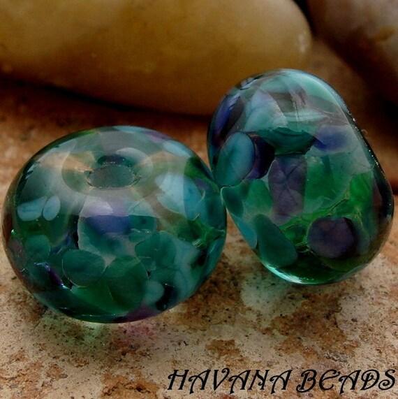 SALE - Entire Store - SEASCAPE - Earring Pair - Set of 2 Handmade Lampwork Beads