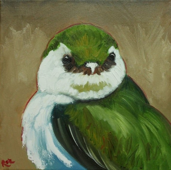 Bird painting 132 12x12 inch original oil painting by Roz