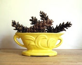 Vintage Planter Yellow Windowsill Planter with Handles Mid Century Pottery Home Decor