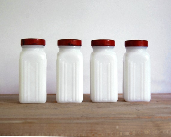 Vintage Spice Jars Milk Glass with Red Metal Lids Art Deco Housewares