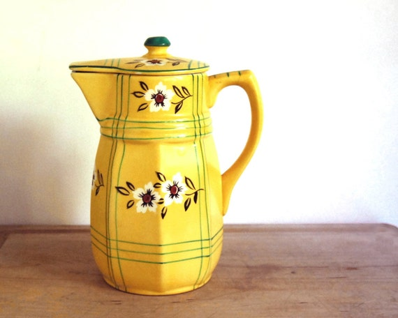 Vintage Pitcher Japanese Yellow Flowers and Plaid Handpainted Cottage Chic Pitcher with Lid