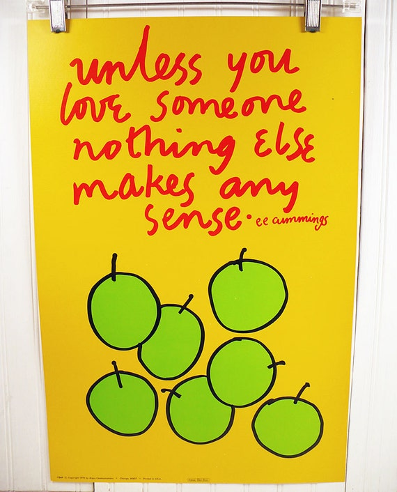 Vintage Motivational Poster - ee cummings Love Quote - Illustration by Patricia Ellen Ricci