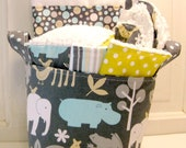 Zoo Time Baby Gift Basket--- Burp Cloth, Bib, Rattle Block, Wash Cloth Set and Fabric Basket