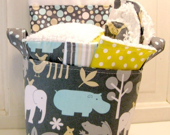 Zoo Time Baby Gift Basket--- Burp Cloth, Bib, Rattle Block, Wash Cloth Set and Fabric Basket