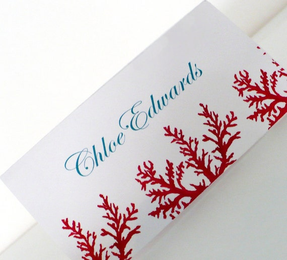 Reserved -Red CORAL Seating ESCORT Cards and Numbers Aqua Turquoise Blue Escort Place Table Numbers Tents