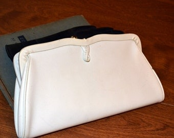 Vintage White Leather Clutch Handbag Leather Purse 50's fashion