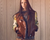 Cognac Leather Biker Jacket with Paint by Number Fabric Sleeves - S, M or L, made to order