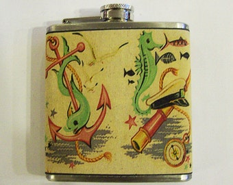 retro nautical flask vintage 1950's rockabilly seahorse anchor tattoo flash kitsch