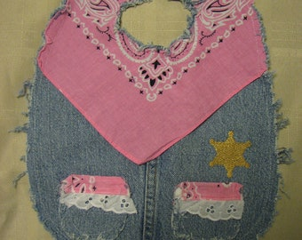 Girls Cute Western Sheriff Recycled Denim and Pink Bandana Cowboy Baby Bib