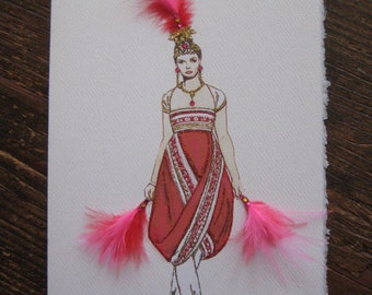 "Alexander McQueen Fashion Illustration 2008 ""Ballooning Evening Gown"" note card"