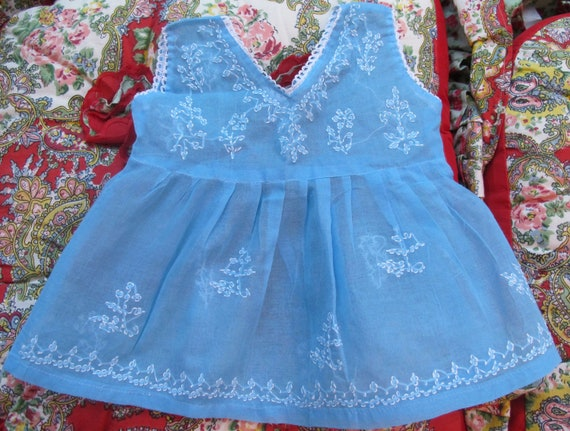 Blue Embroidered Dress 12-18 Months