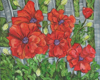 Poppies Print of Original Painting in 12 x 12 mat - on SALE now