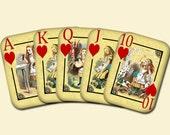ALiCE In WoNDERLaND -Vintage Art Playing Cards -Hearts-  2 Printable Collage Sheets JPG Digital Files- BuY OnE GeT OnE FREE