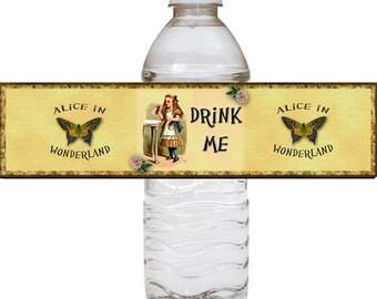"Alice in Wonderland  ""Drink Me"" Water Bottle Labels JPG File Digital Download - New Lower Price"