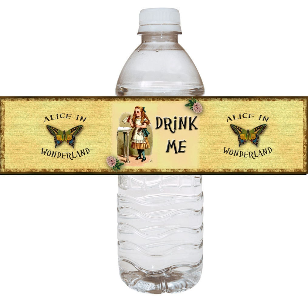 Alice In Wonderland Water: Alice In Wonderland Drink Me Water Bottle Labels