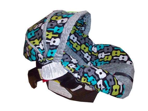 Goovy Guitars lagoon infant car seat cover with grey or turquoise minky made to order for your infant car seat