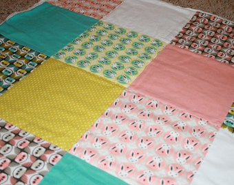 Flannel Baby Blanket in Cloud 9 Organic Patchwork Fabrics