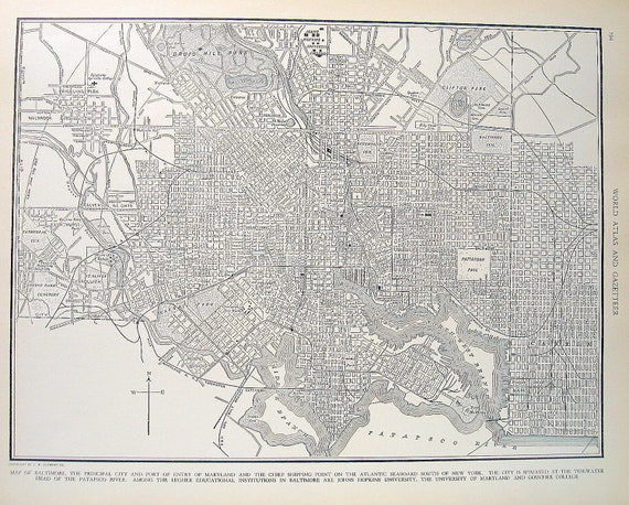 1936 Vintage State Map Baltimore, Maryland Book Plate Page from World Atlas