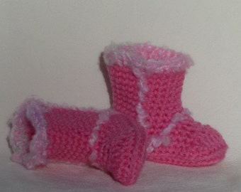 Crocheted Winter Snow Booties pink choose a size