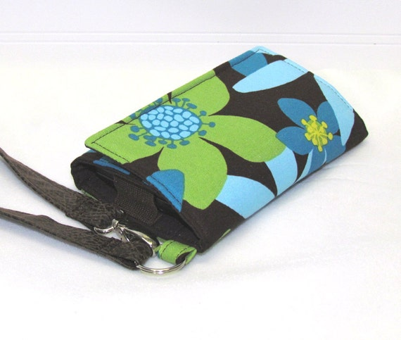 Turquoise and Lime Green Flowers LITTLE TECH Cell Phone Wristlet Case iPhone Wallet for Smart Phones