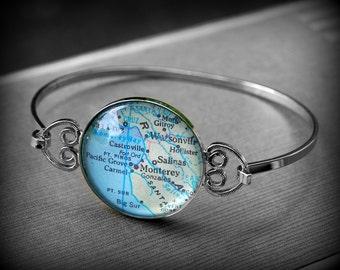 Monterey Bay Map Bracelet