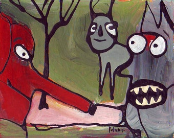 Original Elephant Zoo Drip Painting . Raw, Abstract, Outsider Art . Red, Green, Blue, Black, Pink