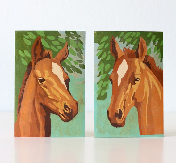 Vintage Horse Paintings - Paint by Number - Set of 2