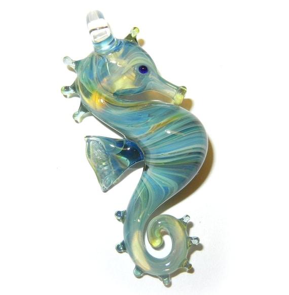Lampwork Boro Glass Pendant - Focal Bead - SEAHORSE aqua