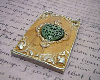 Royal Jade Plaque - Faux Jade heart in a Frame Pendant or Focal Piece for your design