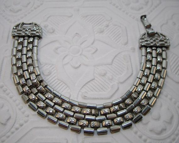 Vintage Goldette Bracelet Silver Tone Mesh Links