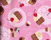 Fabric Half Yard Robert Kaufman Tossed Cupcakes on Pink