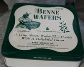 SALE old Benne Wafers tin Savannah Georgia square old south recipe storage