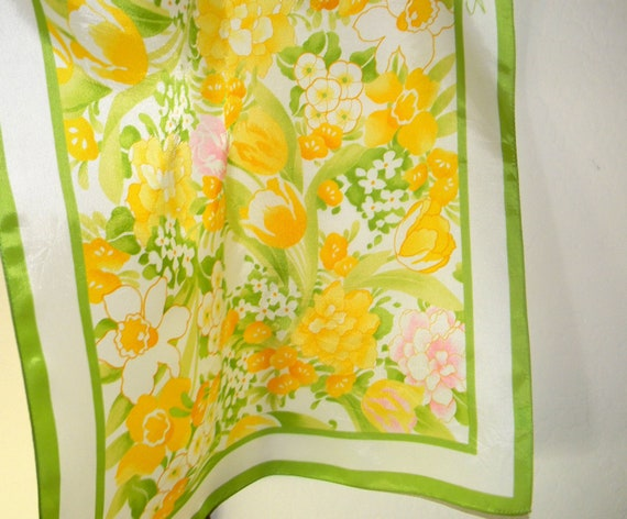 Vintage scarf, SM Kent, yellows and greens with a touch of pink