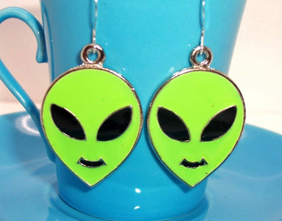 Alien Earrings  .. light green .... ET, ufo, Extraterrestrial, Flying Saucer ...... FREE Shipping US