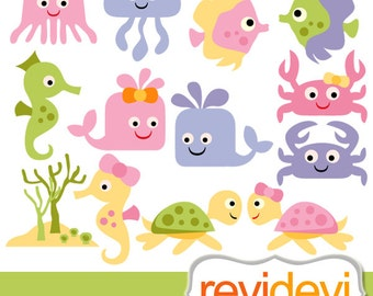 Sea animals clipart - Baby sea animals digital clip art - instant download, commercial use