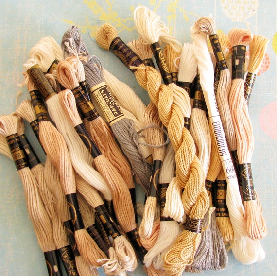 Middle Ground...Lot of Vintage Neutral Embroidery Thread