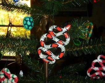 Stocking Stuffer Christmas Tree Ornament Grey Red white and black Candy Cane Snake Necklace Pendant Glows in the dark and under blacklight